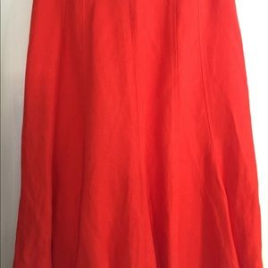 Coldwater Creek a line linen/rayon orange skirt